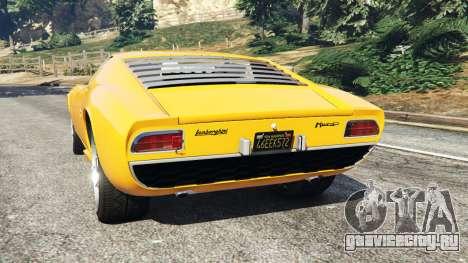 Lamborghini Miura P400 1967 для GTA 5 вид сзади слева