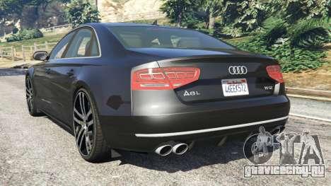 Audi A8 для GTA 5 вид сзади слева