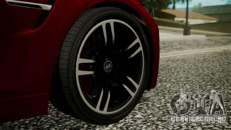 BMW M4 Coupe 2015 Walnut Wood для GTA San Andreas вид сзади слева
