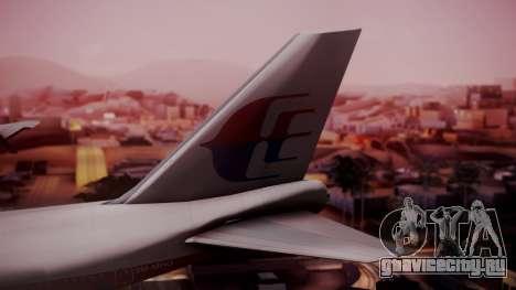 Boeing 747-200 Malaysia Airlines для GTA San Andreas вид сзади слева