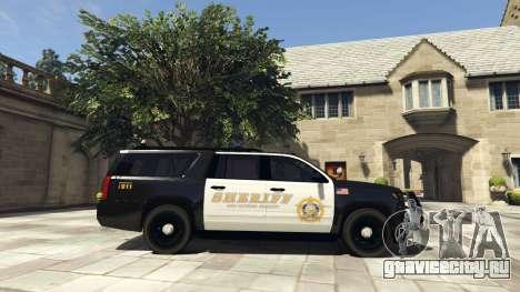Chevrolet Suburban Sheriff 2015 для GTA 5 вид слева