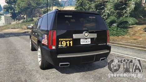 Cadillac Escalade ESV 2012 Police для GTA 5 вид сзади слева