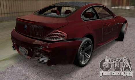 BMW M6 E63 для GTA San Andreas вид изнутри