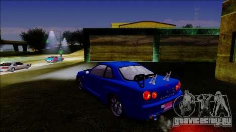 Nissan Skyline GT-R ESR дрифт тюнинг для GTA San Andreas вид сзади слева