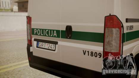 Fiat Ducato Lithuanian Police для GTA San Andreas вид справа