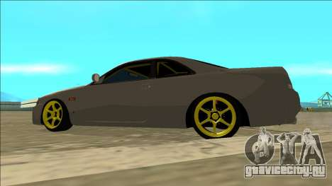 Nissan Skyline R33 Drift для GTA San Andreas вид изнутри