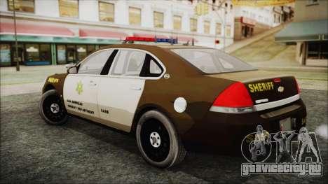 Chevrolet Impala SASD Sheriff Department для GTA San Andreas вид слева