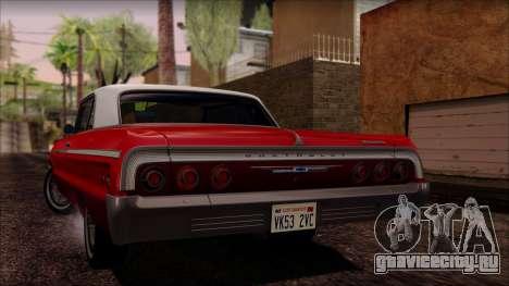 Chevrolet Impala SS 1964 Final для GTA San Andreas вид изнутри