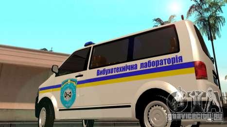 Volkswagen Transporter Сапер Украина для GTA San Andreas вид сзади слева