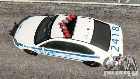 Chevrolet Impala NYPD для GTA 5 вид сзади
