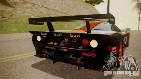 McLaren F1 GTR 1998 Gulf Team для GTA San Andreas вид сверху