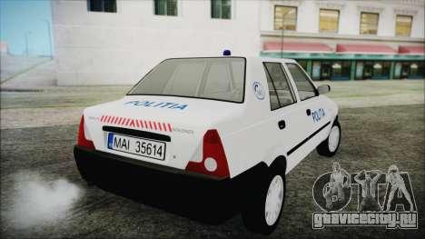 Dacia Solenza Politia для GTA San Andreas вид слева