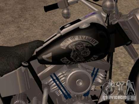 Harley Davidson Fat Boy Sons Of Anarchy для GTA San Andreas вид сзади слева