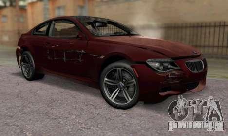 BMW M6 E63 для GTA San Andreas вид сзади