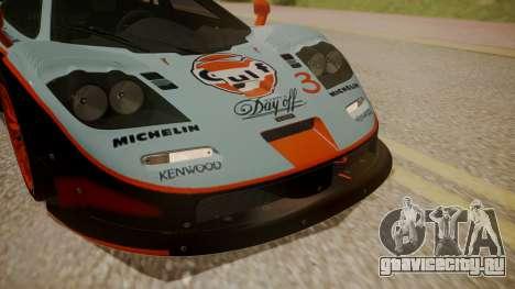 McLaren F1 GTR 1998 Gulf Team для GTA San Andreas вид изнутри