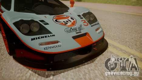 McLaren F1 GTR 1998 Gulf Team для GTA San Andreas вид сзади