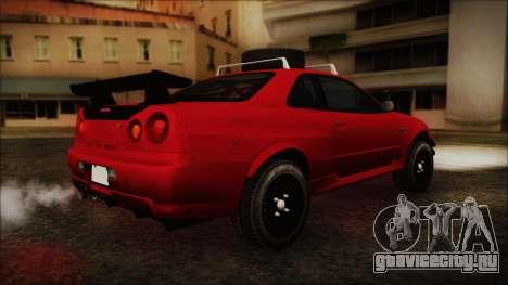 Nissan Skyline R34 Offroad Spec для GTA San Andreas вид сзади слева