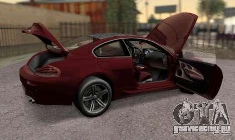 BMW M6 E63 для GTA San Andreas вид справа