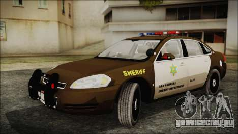 Chevrolet Impala SASD Sheriff Department для GTA San Andreas вид сзади слева