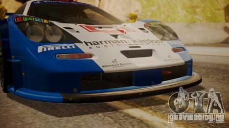 McLaren F1 GTR 1998 HarmanKardon для GTA San Andreas вид сзади