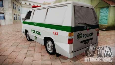 Mitsubishi L300 2008 Patrulla Policía Colombiana для GTA San Andreas вид слева