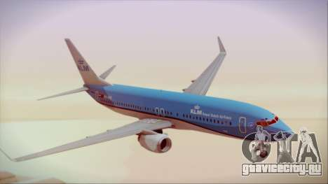 Boeing 737-800 KLM Royal Dutch Airlines для GTA San Andreas вид сзади слева