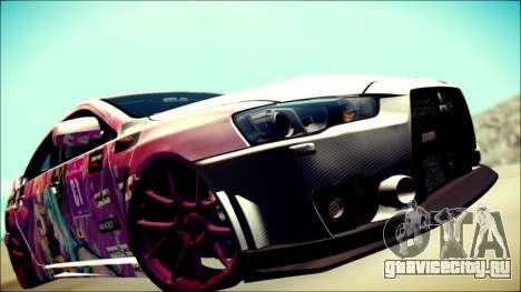 Mitsubishi Lancer Evolution Miku X Luka Itasha для GTA San Andreas вид сзади