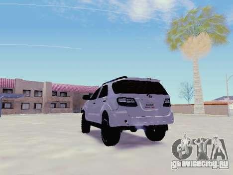 Toyota Fortuner 2012 TRD Off-Road для GTA San Andreas вид сзади слева