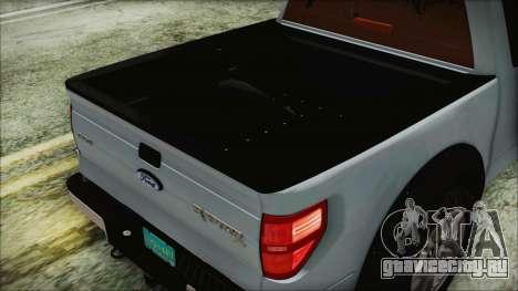 Ford F-150 SVT Raptor 2012 Stock Version для GTA San Andreas вид изнутри