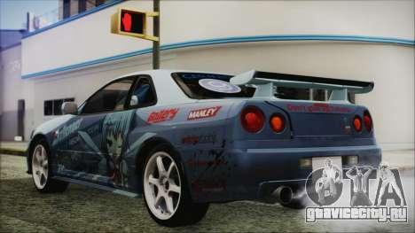 Nissan Skyline R34 Itasha для GTA San Andreas вид слева