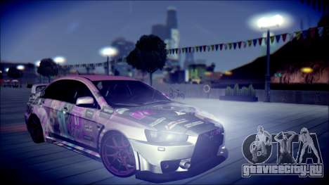 Mitsubishi Lancer Evolution Miku X Luka Itasha для GTA San Andreas