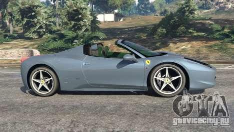 Ferrari 458 Spider 2012 для GTA 5 вид слева