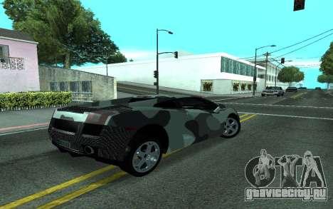 Lamborghini Gallardo Tunable для GTA San Andreas вид изнутри