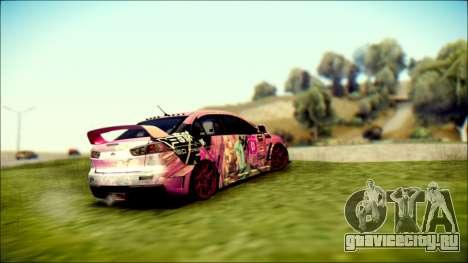 Mitsubishi Lancer Evolution Miku X Luka Itasha для GTA San Andreas вид слева
