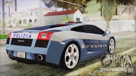 Lamborghini Gallardo 2004 Italian Polizia для GTA San Andreas вид слева
