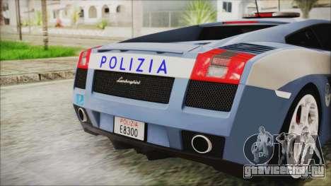 Lamborghini Gallardo 2004 Italian Polizia для GTA San Andreas вид сзади