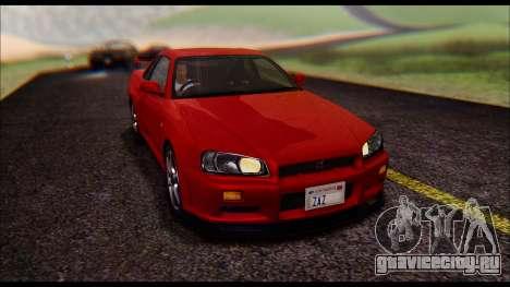 Nissan Skyline R-34 GT-R V-spec 1999 No Dirt для GTA San Andreas вид сзади