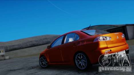 Mitsubishi Lancer Evolution X Tunable New PJ для GTA San Andreas вид сзади слева