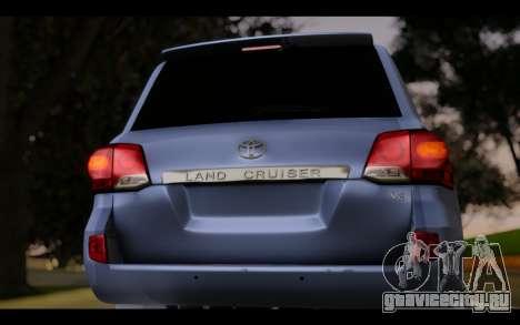 Toyota Land Cruiser 200 2013 Off Road для GTA San Andreas вид сзади