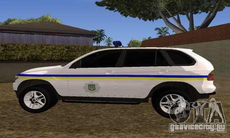 BMW X5 Ukranian Police для GTA San Andreas вид сзади