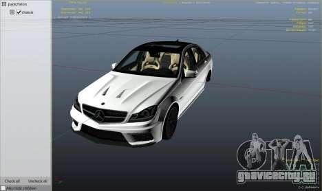 Mercedes-Benz C63 AMG v2 для GTA 5 вид справа