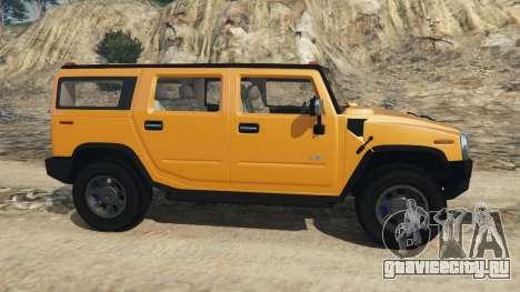 Hummer H2 2005 для GTA 5 вид слева