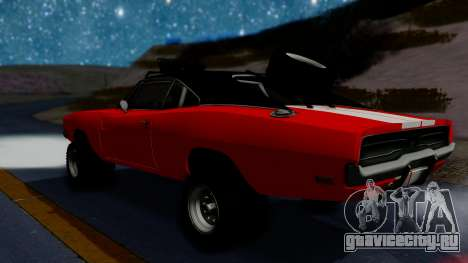 Dodge Charger 1969 Rusty Rebel для GTA San Andreas вид сзади слева