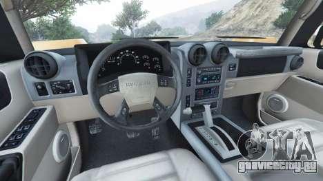 Hummer H2 2005 для GTA 5 вид сзади справа
