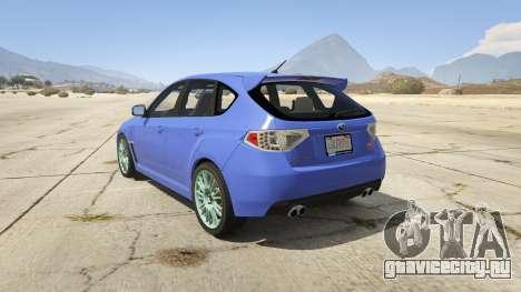 Subaru Impreza WRX STI 1.1 для GTA 5 вид сзади слева