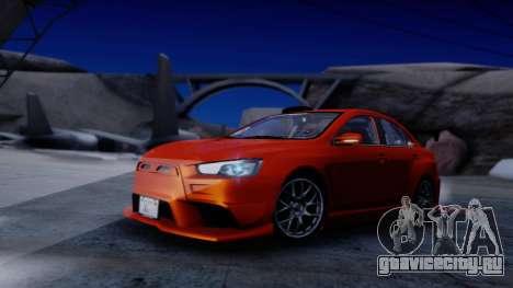 Mitsubishi Lancer Evolution X Tunable New PJ для GTA San Andreas вид изнутри