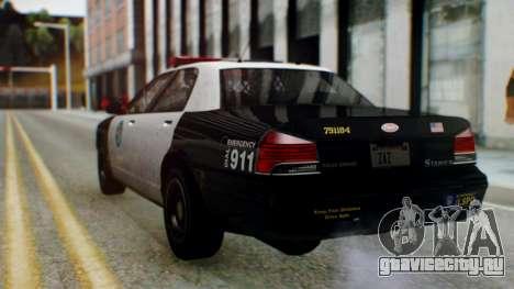 GTA 5 Vapid Stanier II Police для GTA San Andreas вид сзади слева