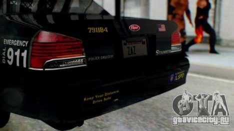 GTA 5 Vapid Stanier II Police для GTA San Andreas вид сзади