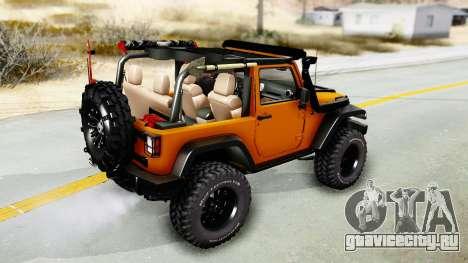 Jeep Wrangler Off Road для GTA San Andreas вид сзади слева