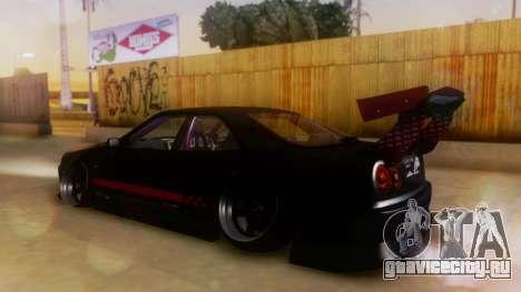 Nissan Skyline GT-R R34 Hella для GTA San Andreas вид сзади слева